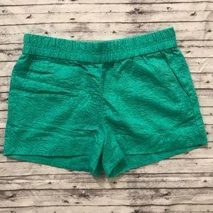 JCrew Boardwalk Shorts Teal Jacquard Sz 0